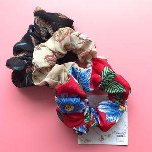 Floral Oversized Scrunchie - A Splash of Red